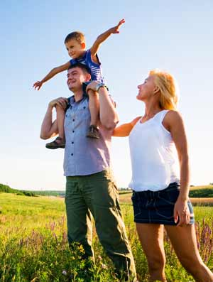 Family walking together represents marriage and family counseling services